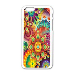 Colorful Abstract Flower Floral Sunflower Rose Star Rainbow Apple Iphone 6/6s White Enamel Case by Alisyart