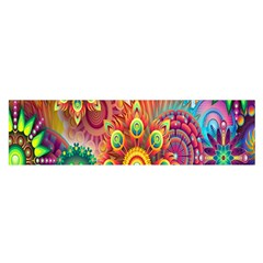 Colorful Abstract Flower Floral Sunflower Rose Star Rainbow Satin Scarf (oblong) by Alisyart