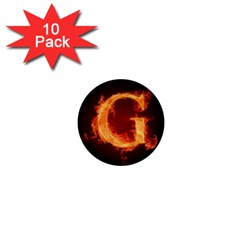 Fire Letterz G 1  Mini Buttons (10 Pack)  by Alisyart