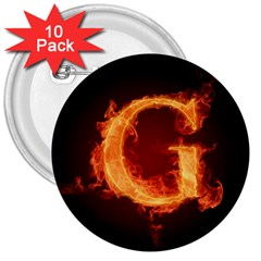 Fire Letterz G 3  Buttons (10 Pack)