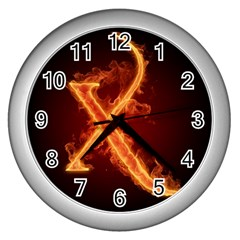 Fire Letterz X Wall Clocks (silver)