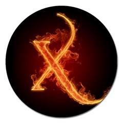 Fire Letterz X Magnet 5  (round)