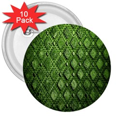 Circle Square Green Stone 3  Buttons (10 Pack)  by Alisyart