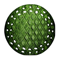 Circle Square Green Stone Round Filigree Ornament (two Sides) by Alisyart