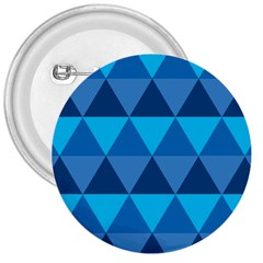 Geometric Chevron Blue Triangle 3  Buttons by Alisyart