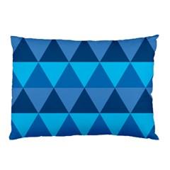 Geometric Chevron Blue Triangle Pillow Case by Alisyart