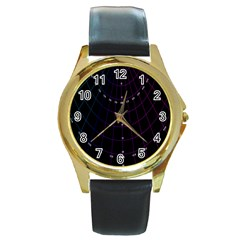 Formula Number Line Purple Natural Round Gold Metal Watch by Alisyart
