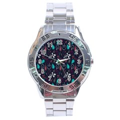 Fruit Pear Apple Purple Pink Blue Stainless Steel Analogue Watch by Alisyart