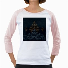 Geometric Triangle Grey Gold Girly Raglans