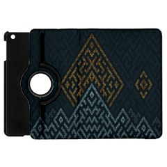 Geometric Triangle Grey Gold Apple Ipad Mini Flip 360 Case by Alisyart