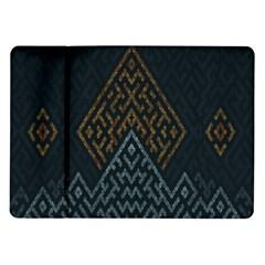 Geometric Triangle Grey Gold Samsung Galaxy Tab 10 1  P7500 Flip Case by Alisyart