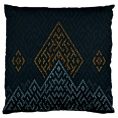 Geometric Triangle Grey Gold Large Flano Cushion Case (two Sides)