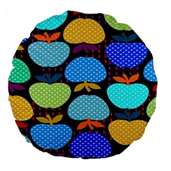 Fruit Apples Color Rainbow Green Blue Yellow Orange Large 18  Premium Round Cushions by Alisyart