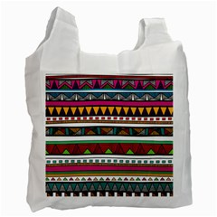 Woven Fabric Triangle Color Rainbow Chevron Wave Jpeg Recycle Bag (one Side) by Alisyart