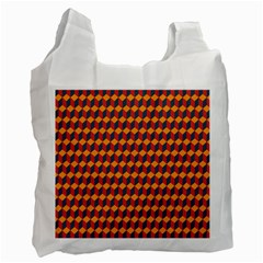 Geometric Plaid Red Orange Recycle Bag (one Side) by Alisyart