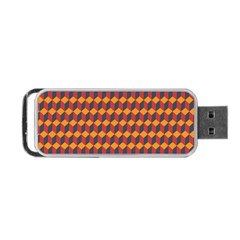 Geometric Plaid Red Orange Portable Usb Flash (one Side) by Alisyart