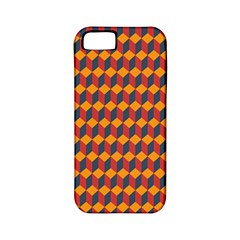 Geometric Plaid Red Orange Apple Iphone 5 Classic Hardshell Case (pc+silicone) by Alisyart