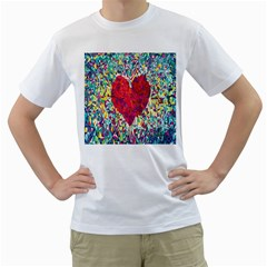 Geometric Heart Diamonds Love Valentine Triangle Color Men s T Shirt (white) (two Sided) by Alisyart