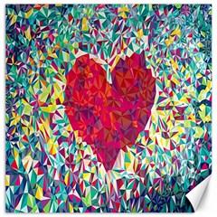 Geometric Heart Diamonds Love Valentine Triangle Color Canvas 16  X 16