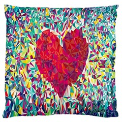 Geometric Heart Diamonds Love Valentine Triangle Color Large Cushion Case (one Side)