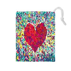 Geometric Heart Diamonds Love Valentine Triangle Color Drawstring Pouches (large)  by Alisyart