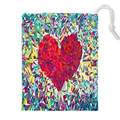 Geometric Heart Diamonds Love Valentine Triangle Color Drawstring Pouches (xxl) by Alisyart