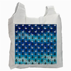 Goose Swan Anchor Blue Recycle Bag (two Side)  by Alisyart