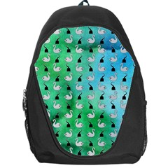 Goose Swan Hook Blue Green Backpack Bag by Alisyart