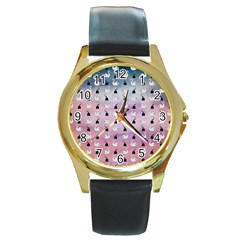 Goose Swan Hook Purple Round Gold Metal Watch by Alisyart