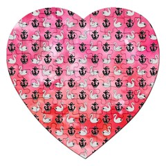 Goose Swan Anchor Pink Jigsaw Puzzle (heart) by Alisyart