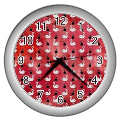 Goose Swan Hook Red Wall Clocks (silver)