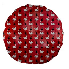 Goose Swan Hook Red Large 18  Premium Round Cushions by Alisyart