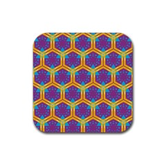 Yellow Honeycombs Pattern                                                          			rubber Square Coaster (4 Pack by LalyLauraFLM