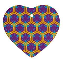 Yellow Honeycombs Pattern                                                          ornament (heart) by LalyLauraFLM
