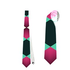 Green Pink Shapes                                 Necktie by LalyLauraFLM