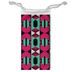 Green Pink Shapes                                 Jewelry Bag by LalyLauraFLM