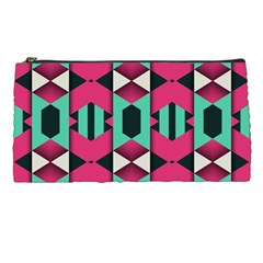 Green Pink Shapes                                 	pencil Case by LalyLauraFLM