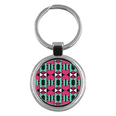 Green Pink Shapes                                 			key Chain (round) by LalyLauraFLM