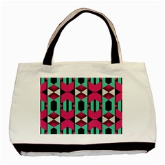 Green Pink Shapes                                 basic Tote Bag by LalyLauraFLM