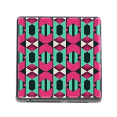 Green Pink Shapes                                 memory Card Reader (square) by LalyLauraFLM