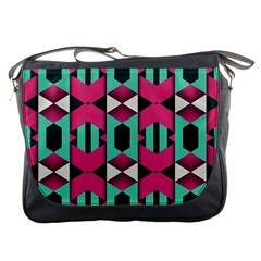 Green Pink Shapes                                 			messenger Bag by LalyLauraFLM
