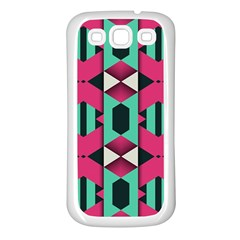 Green Pink Shapes                                samsung Galaxy S3 Back Case (white) by LalyLauraFLM