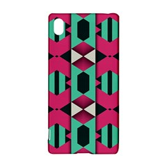 Green Pink Shapes                                			sony Xperia Z3+ Hardshell Case by LalyLauraFLM