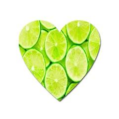 Green Lemon Slices Fruite Heart Magnet by Alisyart