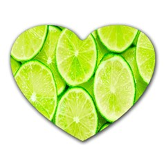 Green Lemon Slices Fruite Heart Mousepads by Alisyart