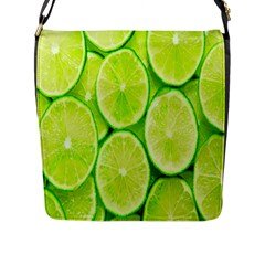 Green Lemon Slices Fruite Flap Messenger Bag (l)  by Alisyart