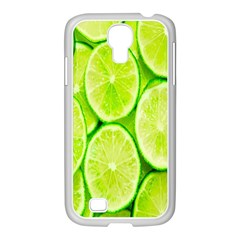Green Lemon Slices Fruite Samsung Galaxy S4 I9500/ I9505 Case (white) by Alisyart