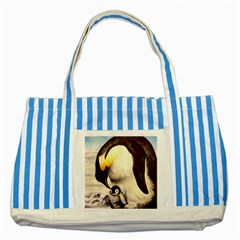 Emperor Penguin Striped Blue Tote Bag by ArtByThree
