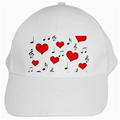 Love Song Pattern White Cap by Valentinaart