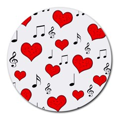 Love Song Pattern Round Mousepads by Valentinaart